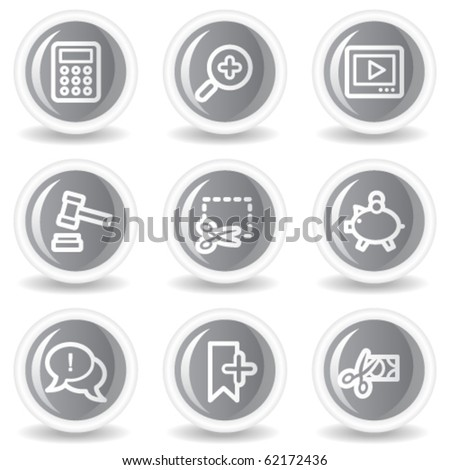 Shopping web icons set 3, circle grey glossy buttons - stock vector