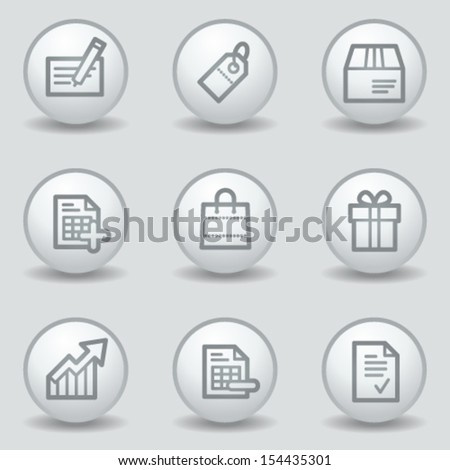 Shopping web icons set 1, circle white matt buttons - stock vector