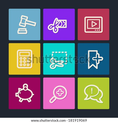 Shopping web icons set 3, color buttons - stock vector