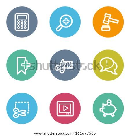 Shopping web icons set 3, color circle buttons - stock vector