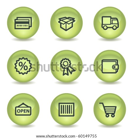 Shopping web icons set 2, green glossy circle buttons - stock vector