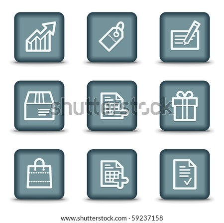 Shopping web icons set 1, grey square buttons - stock vector