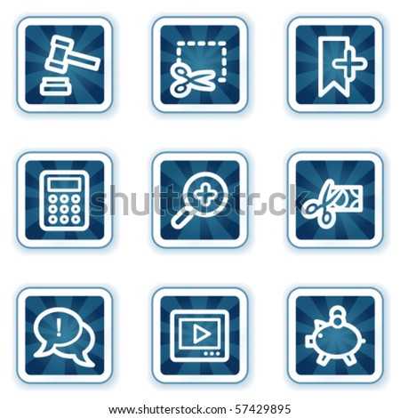 Shopping web icons set 3, navy square buttons - stock vector