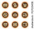 Shopping web icons set 2, vintage buttons - stock