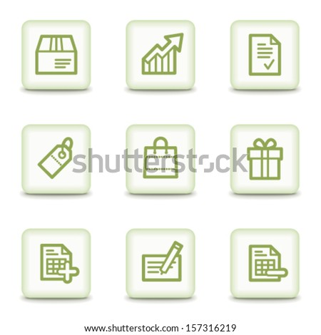 Shopping web icons set 1, white glossy buttons - stock vector