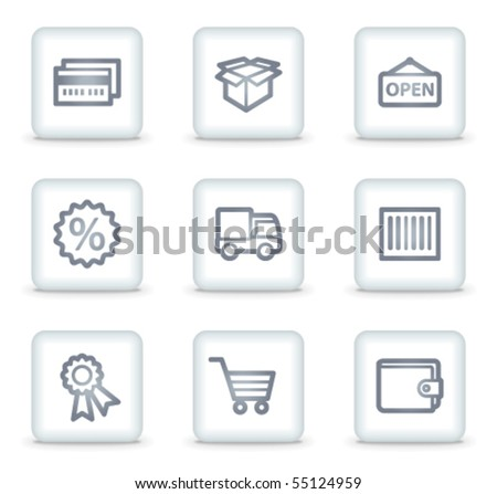 Shopping web icons set 2, white square buttons - stock vector