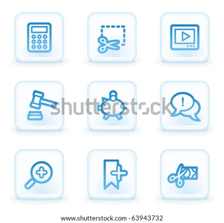Shopping web icons set 3, white square buttons - stock vector