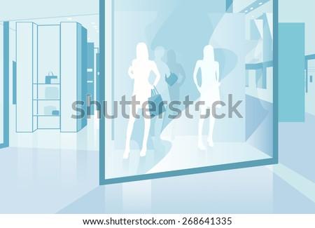 shopping window modern luxury shop in mall center vector illustration - stock vector