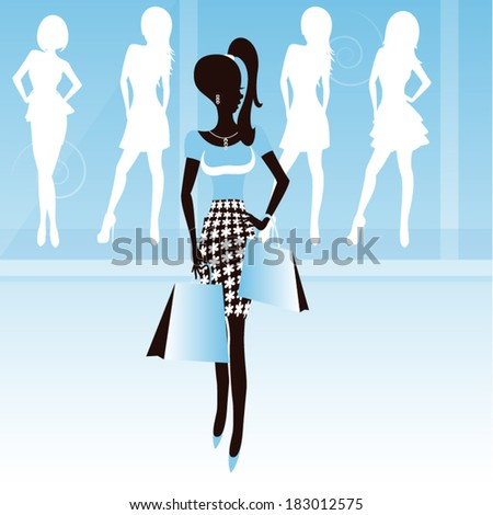Shopping woman  silhouette/ Pretty woman - stock vector