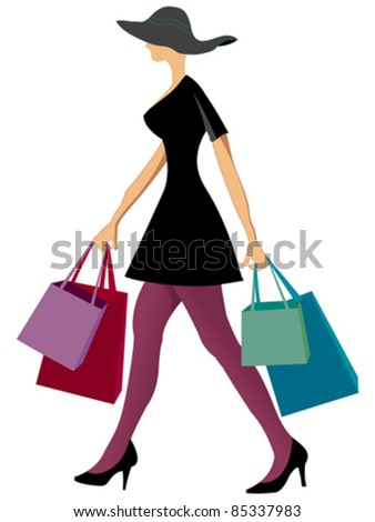 shopping woman with shopping bags against white background, abstract vector art illustration
