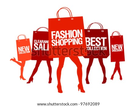 Shopping women silhouettes with paper shopping bags, vector illustration. - stock vector