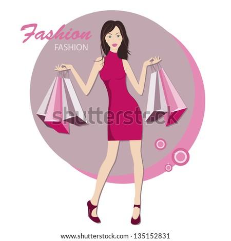 Shopping. Young fashionable woman.  Vector illustration - stock vector