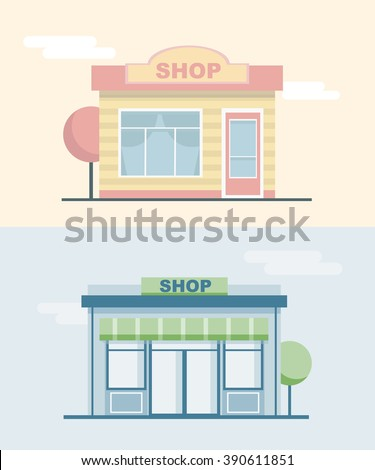 Shops and stores front icons set in flat design style.Landscape with buildings.Cityscape. Vector illustration - stock vector