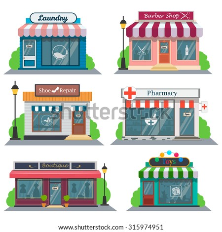 Shops and stores icons set in flat design style.Laundry, barber shop, shoe repair, pharmacy, a boutique, a toy store.Vector illustration - stock vector