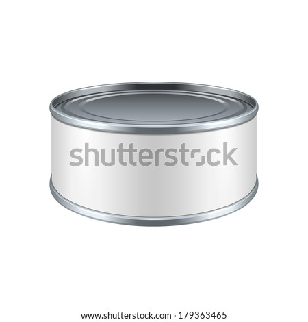 Short Metal Tin Can, Canned Food With White Label. Ready For Your Design. Product Packing Vector EPS10
