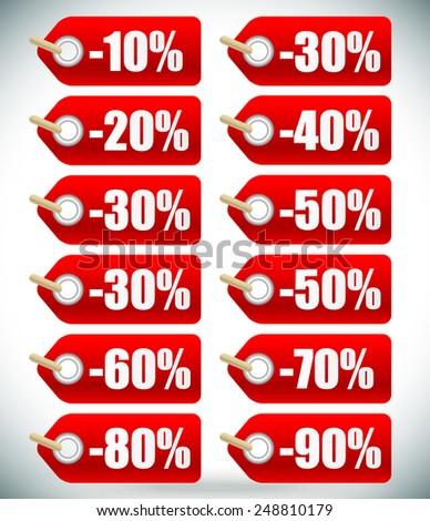 "Short ""percents off"" tag set. From -10 to -90.  - stock vector"