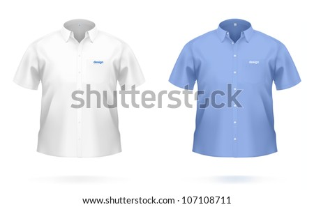 Short sleeved men's SHIRT in white & blue color. VECTOR illustration, created with attention to details. - stock vector