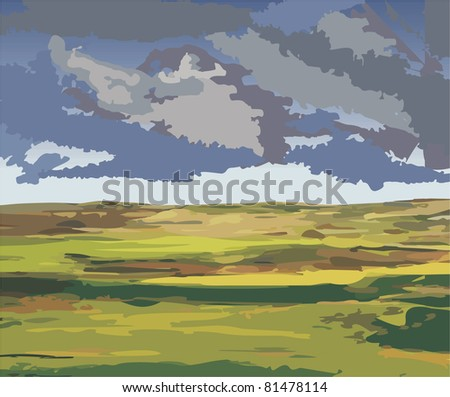 Shortly before the storm, vector illustration of a lowland country - stock vector