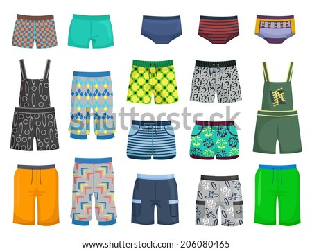 Shorts and panties for little boys for a walk or beach isolated on white background