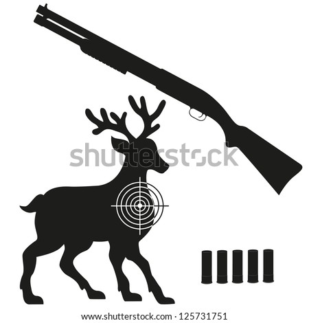 shotgun and aim on a deer black silhouette vector illustration isolated on white background - stock vector
