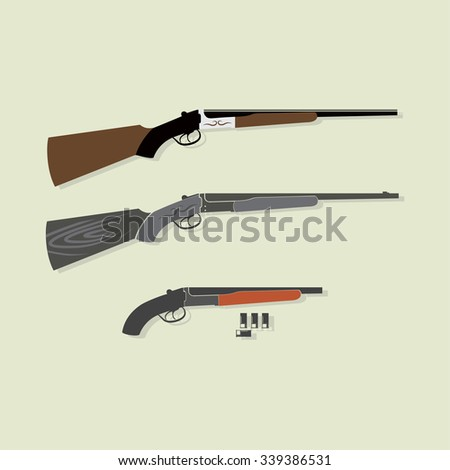 Shotgun with bullets - stock vector