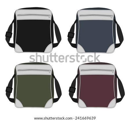 Shoulder bags set. Black, blue, green, red. Color vector clip art illustrations isolated on white - stock vector