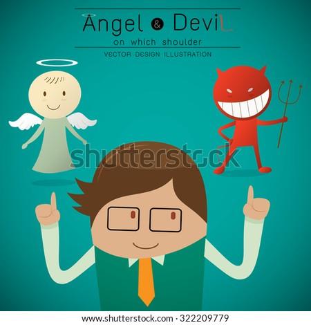 Shoulder devil and angel illustration - stock vector