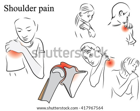 shoulder pain pencil drawing black white stock vector