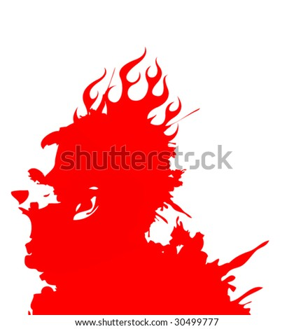 shouting man in flames - stock vector