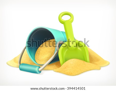 Shovel and bucket in the sand, toys vector icon - stock vector