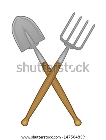 Shovel and pitchfork - stock vector
