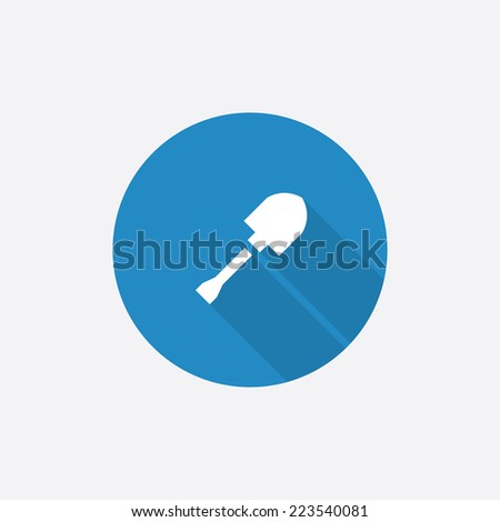 shovel Flat Blue Simple Icon with long shadow, isolated on white background   - stock vector