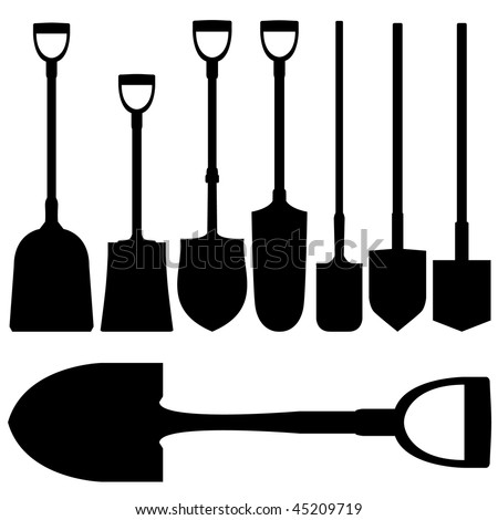Shovels and spades in vector silhouette