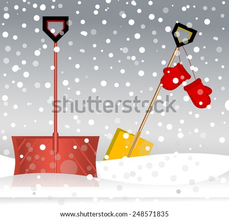 Shovels resting in the snow - taking a break in a storm  - stock vector