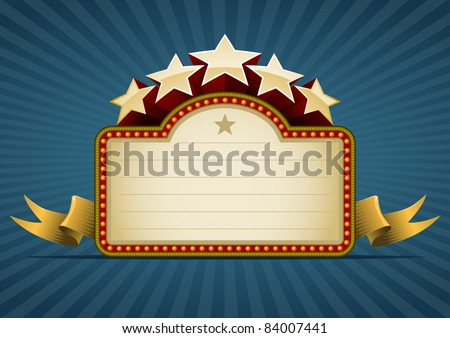 Show banner on blue. All elements are layered separately in vector file. Easy editable. - stock vector