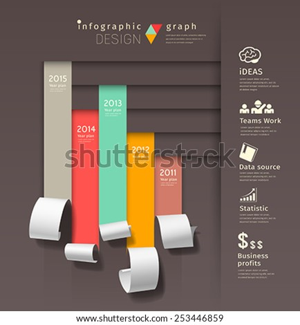 Show colorful paper roll infographics graph business design background, vector illustration - stock vector