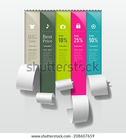 Show colorful paper roll promotional products collections design background, vector illustration - stock vector