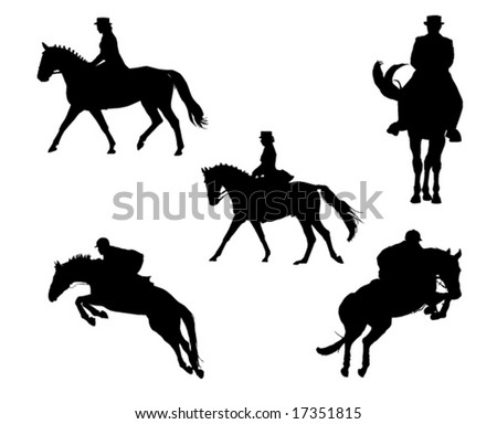 Show horse competition silhouettes - stock vector