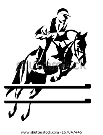 Show jumping horseman design - black and white equestrian sport emblem - stock vector