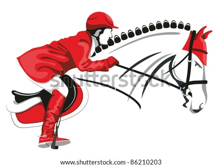 Show Jumping. Jockey on a beautiful black horse jumps over a barrier. - stock vector