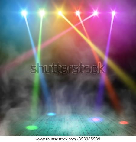 Show. Party Interior. Spotlight Design. Shining Spotlight Background. Studio Lights in Smoky Room. Vector illustration - stock vector