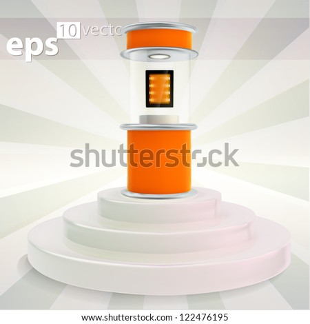 Showcase exhibition stand with pad tablet device inside, on the step podium, eps10 vector copyspace composition - stock vector