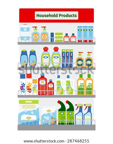 Showcase with household cleaning and hygiene items vector illustration