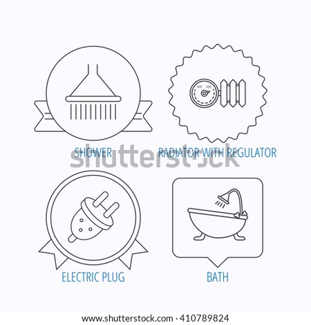 Shower bath electric plug icons radiator stock vector hd royalty shower bath and electric plug icons radiator with regulator linear sign award medal ccuart Image collections