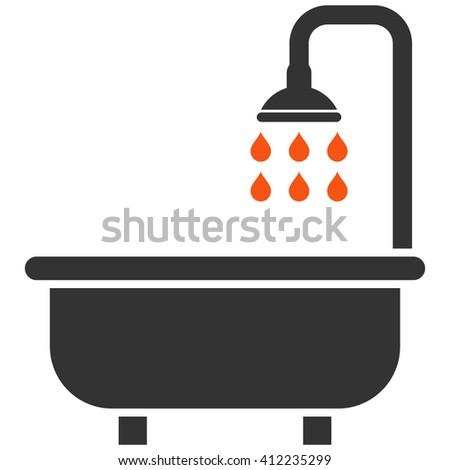 Shower Bath vector icon. Shower Bath icon symbol. Shower Bath icon image. Shower Bath icon picture. Shower Bath pictogram. Flat orange and gray shower bath icon. Isolated shower bath icon graphic. - stock vector