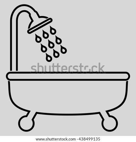 Shower Bath vector icon. Style is outline flat icon symbol, black color, light gray background.