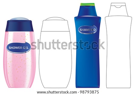 Shower gel and Shampoo bottles with outlines - stock vector