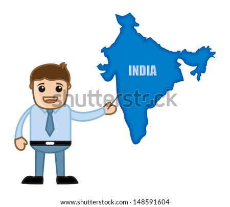 Showing india map business office cartoon vector de stock148591604 showing india map business office cartoon character gumiabroncs Gallery