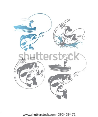 Shown on bass fishing logo - stock vector