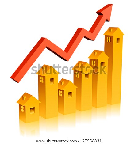 Shows a rise in prices for real estate - stock vector